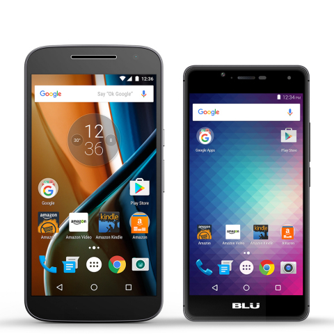 Prime Exclusive Moto G and BLU R1 HD (Photo: Business Wire)