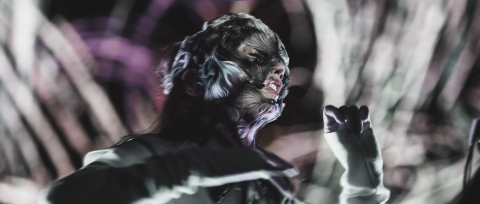 Björk wearing the Stratasys 3D printed mask during the opening performance of her 'BJÖRK DIGITAL' event series, the first-ever event to be broadcast live via 360-degree virtual reality streaming. (Photo credit: Santiago Felipe)