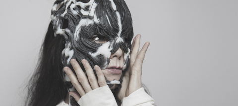 BJÖRK AND THE 3D PRINTED 'ROTTLACE' MASK, designed by Neri Oxman and The Mediated Matter Group, produced using Stratasys' unique full color, multi-material 3D printing technology. (Photo credit: Santiago Felipe)