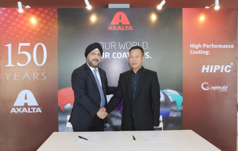 From left: Mr. Sobers Sethi, Axalta Vice President, East and South Asia and Mr. Kee Seong Ng, Managing Director, High Performance Coatings completing Axalta's acquisition of the High Performance Coatings. (Photo: Axalta)