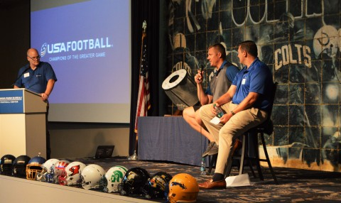 UnitedHealthcare's Mike Merk moderates a mini panel discussion with Colts' former offensive lineman Ryan Diem and UnitedHealthcare's John Lurker at an exclusive event focused on student-athlete health and safety. The event was the culmination of the inaugural HELMETs sweepstakes, a collaboration between the Indianapolis Colts and UnitedHealthcare to enhance health and safety of young athletes through proper equipment, education and training (Photo: Ana Kavanaugh).