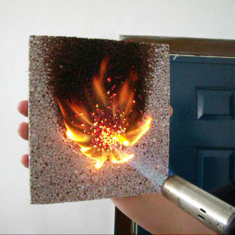 Heinosky's EPS insulation board being subjected to a fire-retardancy test (Heinosky)