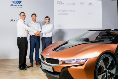 Intel CEO Brian Krzanich (from left), Chairman of the Board of Management of BMW AG Harald Krüger and Mobileye Co-Founder, Chairman and CTO Professor Amnon Shashua speak at a news conference in Munich, Germany, on Friday, July 1, 2016. They are announcing a partnership among BMW Group, Intel and Mobileye to work together with the goal of bringing highly and fully automated driving into production by 2021. (Credit: BMW Group)
