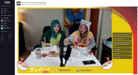 Broadcasters enjoy a meal with their viewers on Twitch's experimental new Social Eating category. (Photo: Business Wire)