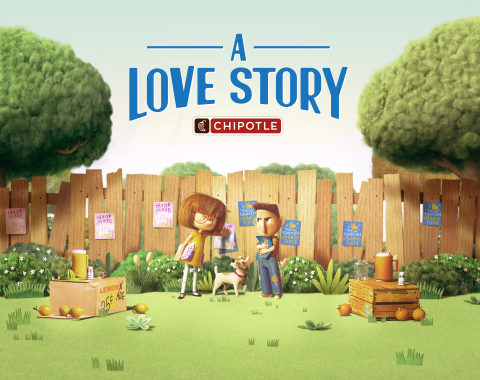"""Chipotle releases """"A Love Story,"""" an original, animated short film that follows the story of two young entrepreneurs, Ivan and Evie, and the escalating rivalry that leads them to build competing fast food empires. (Photo: Business Wire)"""