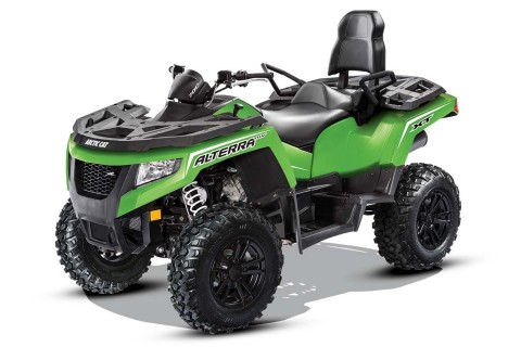 The new Alterra TRV® two-rider vehicle from Arctic Cat allows a passenger to sit behind the driver.  ...