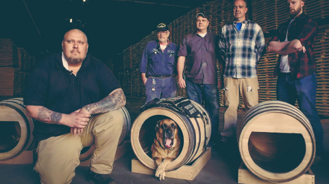 Early Times custom-built barrel doghouse created by veterans at the Brown-Forman Cooperage. (Photo: Business Wire)