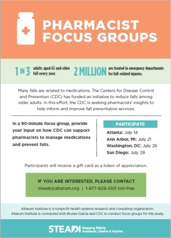 Pharmacists Focus Groups on Elder Falls Prevention (Graphic: Business Wire)