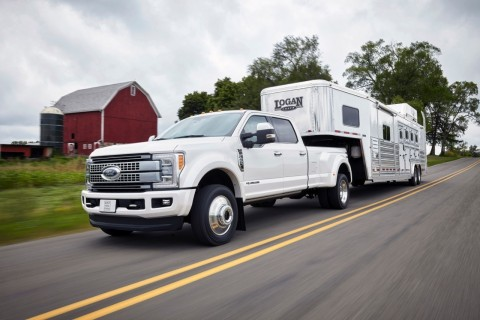 Adaptive cruise control, adaptive steering, and Blind Spot Information System with trailer coverage are three of the new class-exclusive features available to heavy-duty pickup truck drivers for the first time on Super Duty. (Photo: Business Wire)
