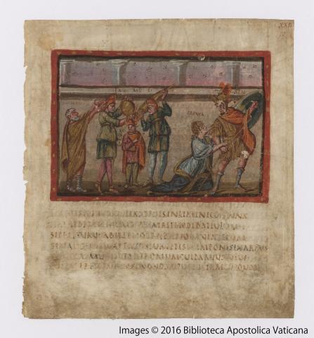 Vergilius Vaticanus, Folio XXIIr, Creusa trying to detain Aeneas from the battle, 4th cent.