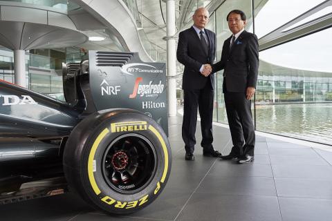 Ron Dennis (Chairman and CEO, McLaren Technology Group ) / Tetsuya Shoji (President and CEO, NTT Com)  (Photo: Business Wire)