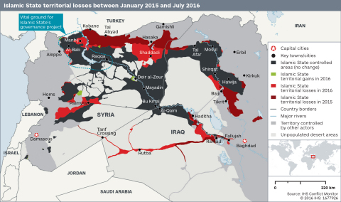Islamic State territorial losses between January 2015 and July 2016 (Photo: IHS Conflict Monitor)