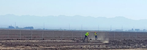 Construction workers clear the ground at Solar Frontier Americas Development's Midway I Project for  ...