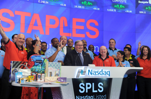 Steven Matyas, center, president of North American retail at Staples Inc., kicks off the 2016 back-to-school season at the NASDAQ Opening Bell Ceremony in New York, Tuesday, July 12, 2016, announcing that Staples has all of the products students need at the lowest prices, guaranteed. (Diane Bondareff/AP Images for Staples) Copyright: Associated Press