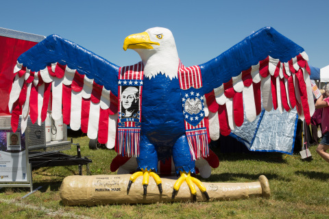 Experience one-of-a-kind, Americana-themed sculptures made of Duck Tape®, such as this 12-foot Eagle ...