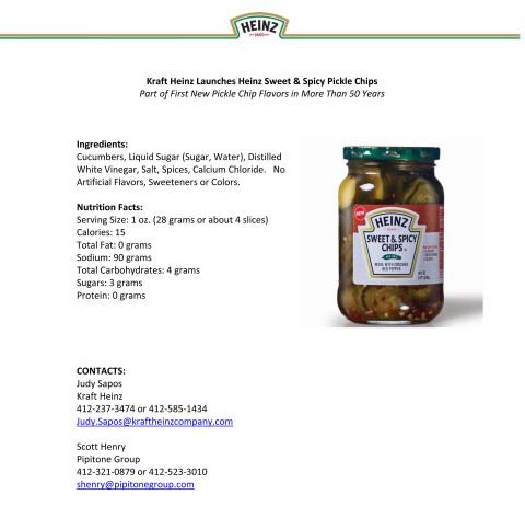 Kraft Heinz Launches Heinz Sweet & Spicy Pickle Chips (Graphic: Business Wire)