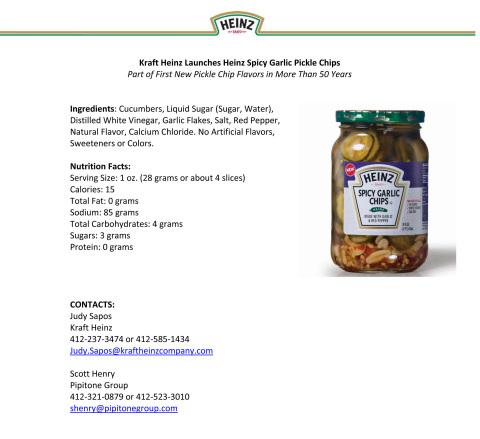 Kraft Heinz Launches Heinz Spicy Garlic Pickle Chips (Graphic: Business Wire)