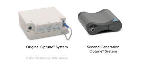 Novocure's second generation Optune system, at right, features a Tumor Treating Fields generator that is half the weight and half the size of the generator in the first generation Optune system, at left. (Photo: Business Wire)