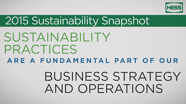 Brief video highlights of the 2015 Hess Corporate Sustainability Report.