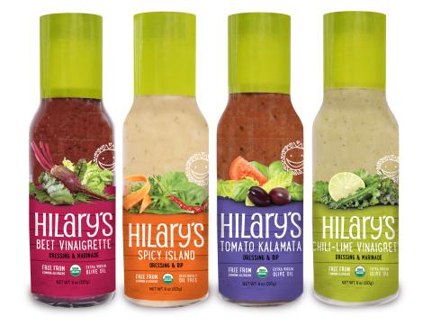 Hilary's new dressings: Beet Vinaigrette, Spicy Island Dressing, Tomato Kalamata Dressing, and Chili-Lime Vinaigrette (Photo: Business Wire)