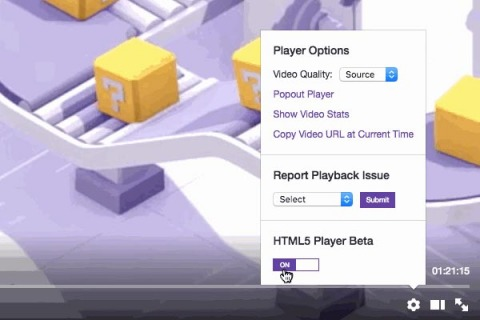 Twitch's HTML5 Video Player is now available to select users at the click of a button. (Photo: Business Wire)