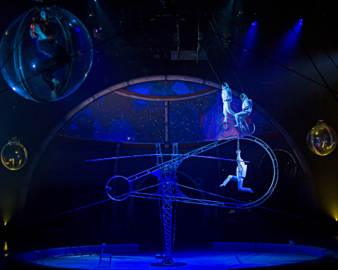 Making its U.S. debut, the Simet Wheel requires incredible balance and artistry, which performers demonstrate as astronauts exploring the galaxy. (Photo: Business Wire)