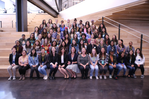 In this photo provided by Dolby Laboratories, Poppy Crum, Head Scientist; Tara Murphy, Director, E-Media Program Management; Joan Scott, Director, Community Relations, and Simone Price, Senior Community Relations Specialist pose with more than 60 attendees from Girls Who Code at Dolby's headquarters in San Francisco. Dolby provided immersive demos of its most powerful sound and vision experiences. (Photo: Business Wire)