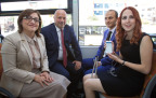 Gaziantep Mayor Fatma Sahin (front left), Turkcell CEO Kaan Terzioglu (back left), Gamze Sofuoglu (front right) and Kursat Ceylan (back left) of Turkcell and YGA trialed the transportation feature of My Dream Companion in Gaziantep. (Photo: Business Wire)