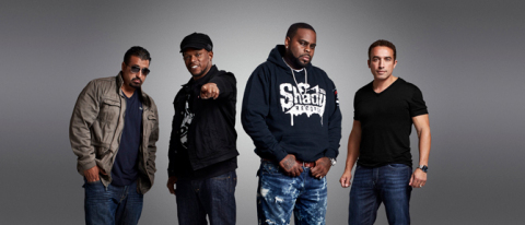 """(From L-R) King Tech, Sway Calloway, Kxng Crooked and Mike Smith from BET'S NEW REALITY COMPETITION SERIES """"ONE SHOT"""" PREMIERING TUESDAY, AUGUST 23 AT 10 PM ET/PT ON BET. (Photo: Business Wire)"""