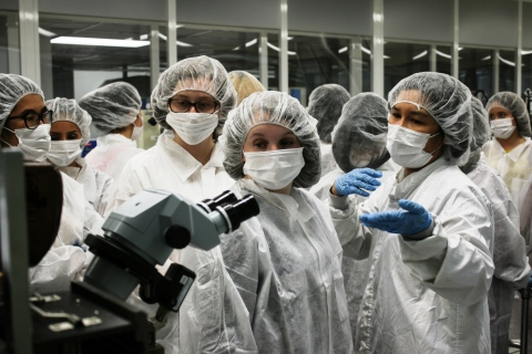 Twenty-one female high school students from the Women in Engineering Summer Program at University of ...