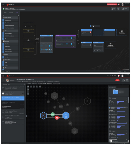 With Siemplify's ThreatNexus platform, analysts can address a broad range of security operations. As shown in the images, analysts can have the benefit of both deeply contextualized investigation, as well as automated and semi-automated response by leveraging the ThreatNexus orchestration module when needed. (Graphic: Business Wire).