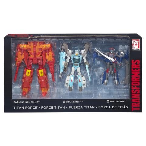 The TRANSFORMERS GENERATIONS TITANS RETURN Titan Force Set allows fans to bring the battle to life. The set features a Voyager Class SENTINEL PRIME figure, DELUXE CLASS BRAINSTORM and WINDBLADE figures, as well as 2 TITAN MASTER figures – AUTOBOT TESLOR and AUTOBOT INFINITUS. (Photo: Business Wire)