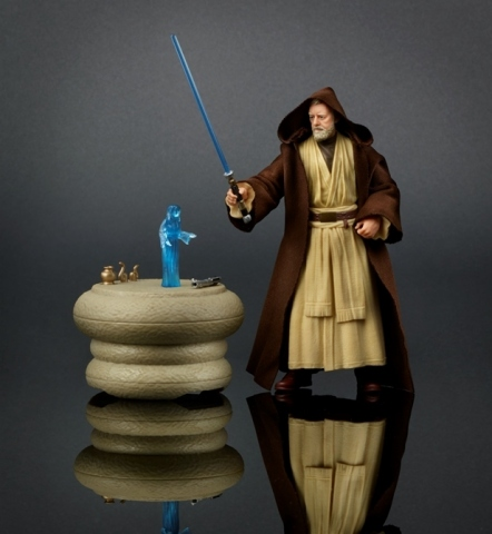 Recreate the noble journey of the great Jedi Master with the highly collectible Obi-Wan Kenobi Pack. Featuring authentic, movie-accurate detail, this elite 6-inch scale Obi-Wan Kenobi figure comes equipped with Jedi robe, 2 lightsabers, an electronic light-up table, and Princess Leia hologram delivering a vital message. (Photo: Business Wire)