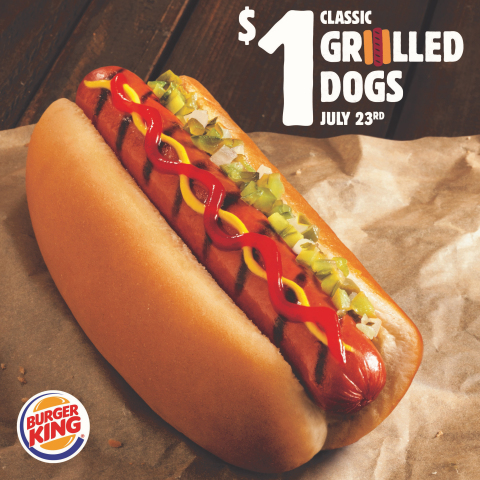 BURGER KING® Restaurants Launch $1 Classic Grilled Dogs Promotion for National Hot Dog Day (Photo: B ...