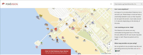 Pokévision, a third-party app for the viral mobile game Pokémon Go, uses Esri's award-winning location-based data and mapping platform ArcGIS to help players of the game find Pokémon around them. (Graphic: Business Wire)