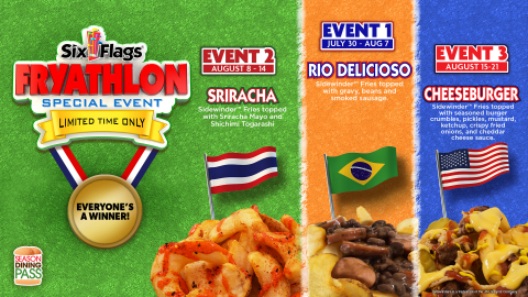 """Six Flags Summer of Games featuring world's first """"Fryathlon"""" (Graphic: Business Wire)"""