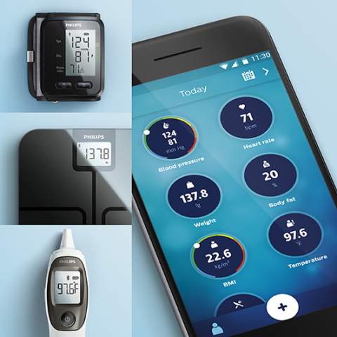 The Philips HealthSuite Health App is free and available on iOS and Android