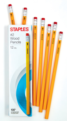 Staples Less List for School: Staples Yellow #2 Pencils, 12 pack, 75 cents (prices valid through the back-to-school season). (Photo: Business Wire)