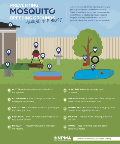Diagram showing what to look for when inspecting your property for mosquito breeding grounds (Graphic: Business Wire)