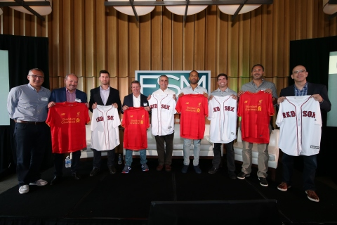 """Fenway Sports Management Managing Director Mark Lev; EA Chief Competition Officer Peter Moore; Recode Senior Editor Kurt Wagner; New Balance President & CEO Rob DeMartini; Intel CEO Brian Krzanich; SpringHill Entertainment & Uninterrupted Cofounder and CEO Maverick Carter; STRIVR Founder and CEO Derek Belch; Facebook Head of Global Sports Partnerships Dan Reed and NRG eSports Chairman & Cofounder Andrew Miller pose at the Fenway Sports Management """"Changing the Game"""" Summit on Friday, July 29, 2016 at Levi's Stadium in Santa Clara, California. (Photo: Business Wire)."""