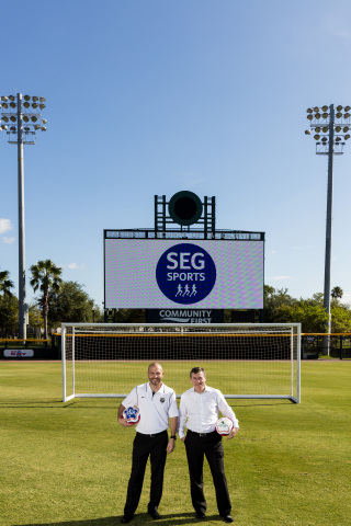 Ian McLeod, President and CEO of Southeastern Grocers, and Mark Frisch, Owner and CEO of Jacksonville Armada FC, announce the launch of SEG Sports - the grocer's commitment to fuel, coach and inspire healthy lifestyles within the community. (Photo: Business Wire)