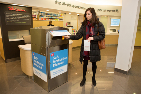 Walgreens installs safe medication disposal kiosks like this one at 45 of its Illinois drugstores. (Photo: Business Wire)