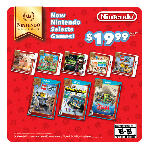 On Aug. 26, some of Nintendo's most popular and premium Wii U and Nintendo 3DS games are joining the Nintendo Selects honor roll of games sold at a suggested retail price of only $19.99. (Graphic: Business Wire)