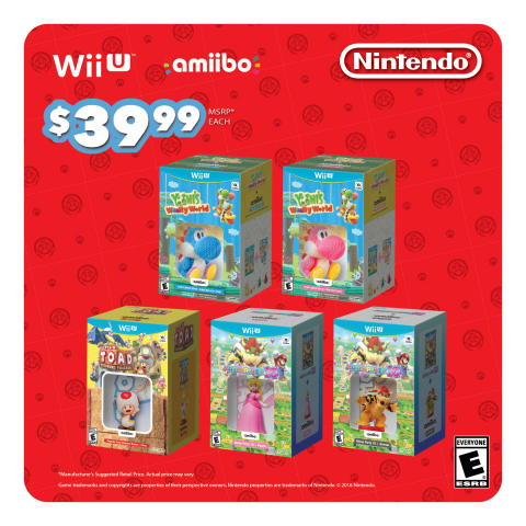 Starting on Sept. 9, select Wii U games will be packaged with specific amiibo at a suggested retail price of only $39.99 each. (Graphic: Business Wire)