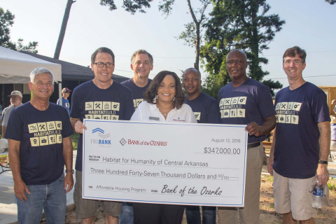 """U.S. Representative French Hill (AR-2) today joined representatives from the Federal Home Loan Bank of Dallas, Bank of the Ozarks, and Habitat for Humanity of Central Arkansas for a """"wall-raising"""" event and to celebrate $347,000 in Affordable Housing Program (AHP) grants. (Photo: Business Wire)"""