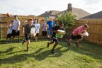 "Attendees of the ""Bounty 2016 Quicker Picker Upper Games"" event raced against the clock to clean up messes and spills in record time with the help of Bounty on Saturday, Aug. 13, 2016 in Dallas, TX. (Photo: Business Wire)"