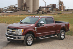 All-new 2017 Ford F-450 Super Duty Platinum Crew Cab 4x4 Class 3 dual-rear-wheel pickup is the top-of-the-line luxury model and tow boss of the lineup. It can pull heavier gooseneck and fifth-wheel trailers than ever. (Photo: Business Wire)