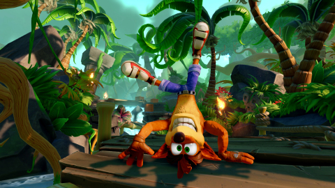 Skylanders™ Imaginators delivers to fans an all-new level, Thumpin' Wumpa Islands, that's steeped in nostalgic Crash Bandicoot® gameplay. To celebrate this iconic character's 20th anniversary, the level is packed with TNT boxes, crabs, hazards, temple ruins, Wumpa Fruit, exploding crates and many more elements from the original Crash. (Photo: Business Wire)