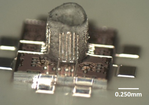 Aerosol Jet 3D Printed Micro-structure showing freestanding, millimeter wave dipole antenna. (Photo: ...