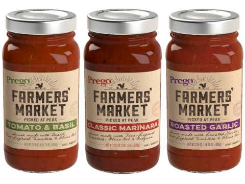 Prego Farmers' Market™, a new sauce line that is made with tomatoes picked at their peak, herbs, and ...